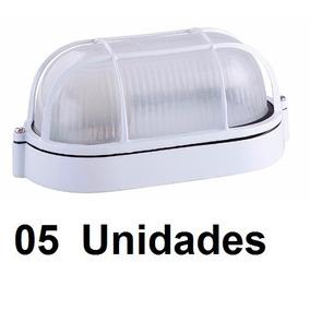 05 Un. Arandela Tartaruga Aluminio Vidro Nautica E-27 Branca