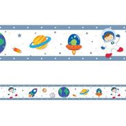 2 Faixa Decorativa Adesivo Border Astronauta Planetas Espaço