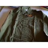 Camisa Ejército Auténtica Insignia. Verde Militar Talle M