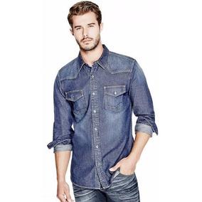 Guess Camisa Mezclilla Western Slim Fit 75% Off