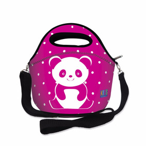Lancheira Térmica Neoprene Infantil Panda Rosa