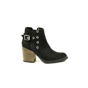 Zapato Lucerna Botineta Cuero Gamuzado Faja Negra