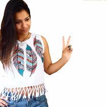Cropped Blusinha Blusa Com Franja Tendência Carnaval