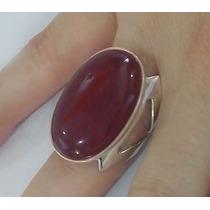 Anel Feminino Prata 950 Com Pedra Natural Dolomita Vermelha