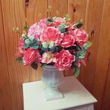 Arranjo De Flores Artificiais - Rosas E Eucalipto Tam:44x36