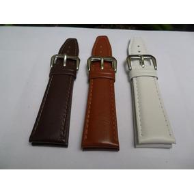 Pulseira De Couro Legítimo 24mm Marrom, Caramelho E Branca.