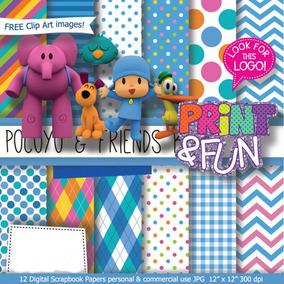 Kit Imprimible Pack Fondos Pocoyo 2 Clipart