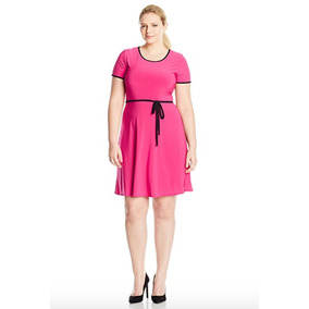 Vestido Corto Rosa Con Cinturón Talla Extra Importación