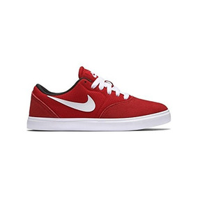 Zapatilla Nike Sb Check Gs Niños Rojo Lona Cuero Unisex 35.5