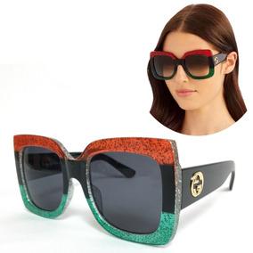Óculos Feminino Quadrado Gcc Red/black/green Tendência 2018