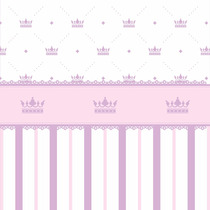 Papel De Parede Listras Com Coroa E Faixa Vinílico E Lavável