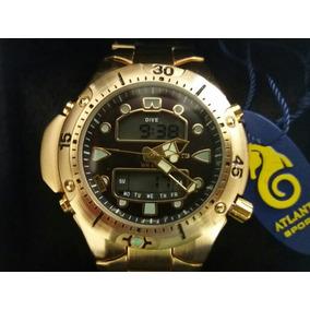 dff882fe74e Relógio Atlantis Aqualand Scuba Dourado Original - Relógios no ...