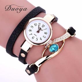 Relógio Duoya Dourado/luxo Bracelete Em Couro C/pedra/strass