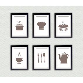 Kit 6 Quadros Decorativos Cozinha Com Moldura Laqueada