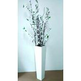 Vaso De Chão Mdf Com Galhos Secos Flores Artificiais Brancas