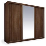 Armário 3 Portas De Correr Com Espelho, Ipê, Premium Plus 2,