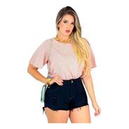 Shorts Jeans Preto Feminino Cintura Alta Desfiado St007