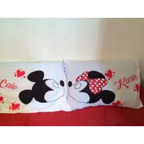 Par De Fronha Personalizada Mickey E Minnie Com Nome