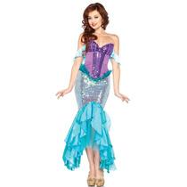 Vestido Disfraz Ariel Sirenita Princesa Adulto
