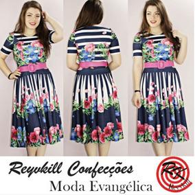Vestido Moda Evangélica Em Suplex Midi Godê Exclusivo 0080