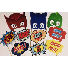 Photo Booth Props Carteles Fotos Pj Masks, Superhéroes X10
