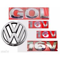 Emblemas Gol 16v + Laterais 16v + Vw Grade - G3 Geração 3