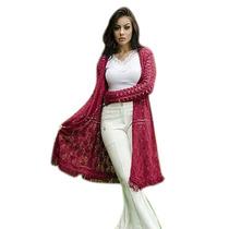 Colete Kimono Longo Lâ Tricot Tricô Franjas Inverno Crochê