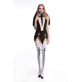 Sexy Uniforme Disfraz Monja Mujer Vestido, Medias, Guantes