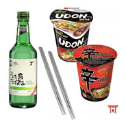Kit 02 Lamen Coreano Em Copo + 01 Soju + 02 Hashi Aço Inox