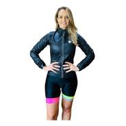 Corta Vento Ciclismo Feminino Preto Lynce