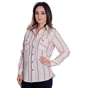 8d0654007 Camisa Feminina Regular Manga Longa Listrada Vinho - Calçados ...
