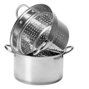 Espagueteira Aço Inox Tampa Vidro Para Massa Macarrão 4,7l