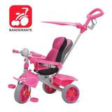 Triciclo Smart Comfort Rosa Com Haste E Protetor Bandeirante