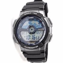 Relogio Casio Ae-1100 W-1av Hora Mundial 5 Alarmes Wr-100m P