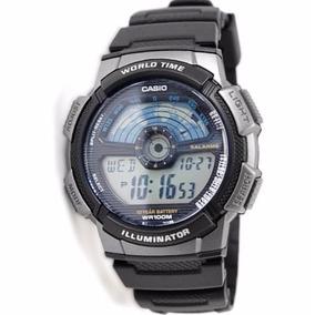 Relogio Casio Ae-1100 W-1av Hora Mundial Wr-100m 5 Alarmes