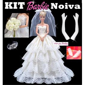 Kit Boneca Barbie Noiva Vestido Luvas Véu Sapato Buquê Coroa