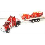 Camion Gandola Plastico Bombero Con 2 Carritos Niños Juguete