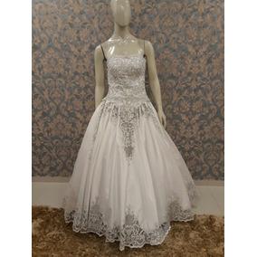 Vestido Noiva Branco Tomara Que Caia Fio Prata Pérolas Tn-13