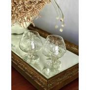 Antiguo Par De Copas Para Cognac De Cristal Tallado
