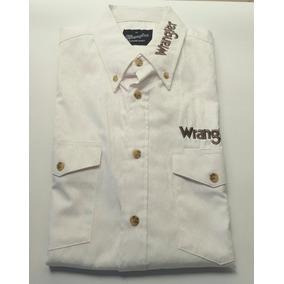 Camisa Vaquera Wrangler Blanca Con Grecas Talla Mediana