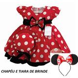 Vestido Infantil Tema Minnie Joaninha Vermelho E Chapéu