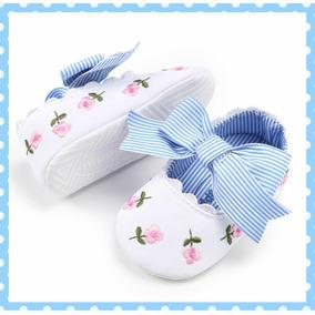 Zapatos Bordados Para Niña/bebé, Moño A Rayas. 12 Cm..