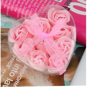 Flores Forma Y Aroma De Rosa Cajita 9pzs, Paq.10 Cajas