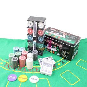 Kits De Poker Texas Holdem 200 Fichas Numerado E Feltr