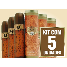 Kit 5 Unidades Perfume Cuba Gold 100ml Masculino Edt
