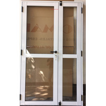 Puerta De Aluminio Doble 1,20 X 2,00 Vidrio Colocado