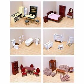 6 Pack Set Muebles Casa Muñecas Estilo Victoriano Esc 1:12
