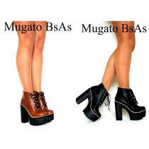 Botas Zapatos Botinetas Bucaneras Con Plataforma Y Taco Palo