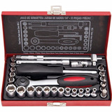 Kit Jogo De Soquetes Chave Catraca Pito 1/4 4 A 13mm Robust