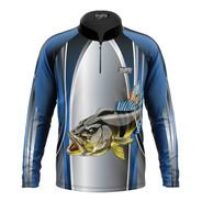 Camiseta Pqs Pesca Proteção Peixe Tucunaré Uv Ref 27